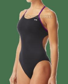 TYR WOMEN HEXA CUTOUTFIT BLACK/PURPLE