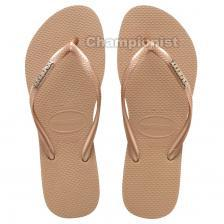 HAVAIANAS SLIM LOGO METTALIC WOMEN ROSE/GOLD